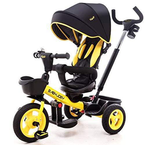 Knoijijuo Triciclo for Bambini All'aperto, 1-6 Anni Ragazzo E Ragazza 4 in 1 Spingere Triciclo Ombra for Bambini, Arancione,Giallo