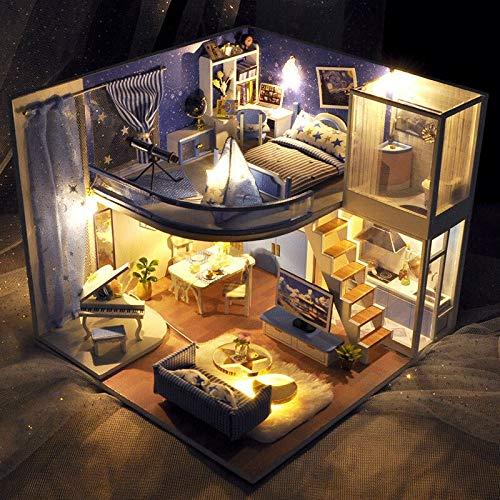 No-branded - Casa de muñecas de madera, casas en miniatura Dollhouse - Kit de muebles para niños, regalo de Navidad ZHQHYQHX (color: TD39 A, tamaño: libre)