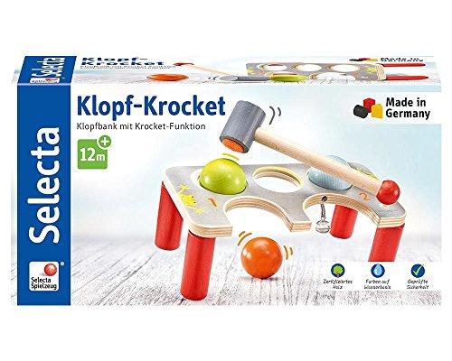 Selecta 62060 Klopf-Krocket, Klopfbank aus Holz, bunt, 22 cm