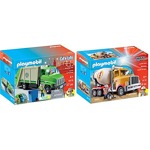 PLAYMOBIL Green Recycling Truck & Cement Truck