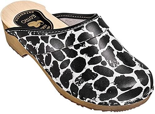 ESTRO Zuecos De Madera para Mujer Calzado Sanitario De Trabajo CDL06 (Blanco/Negro, Numeric_36)
