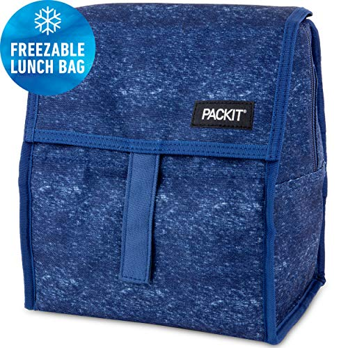 PackIt Freezable Lunch Bag with Zip Closure, Navy Heather