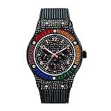 ZHUANYIYI Deportes De Moda Arco Iris Cuadrado Diamante De Imitación Banda De Silicona Reloj Impermeable para Hombres Moda Casual Moda Regalo Reloj De Cuarzo