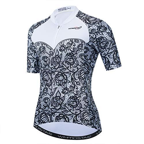 Frau Radfahren Trikots MTB Shirt Atmungsaktive Mountainbike Tops Outdoor Sport Laufen Radfahren Sweatshirt Rose Elegant Schwarz und Weiß XL