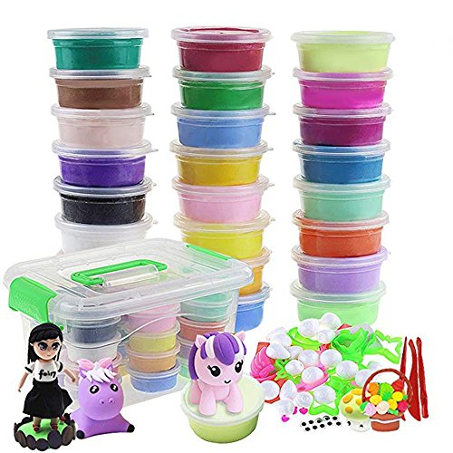 24 Colors Magic Ultra Air Dry DIY Modeling Clay Set Craft Kit with Accessories,Non-Toxic, Eco-Friendly