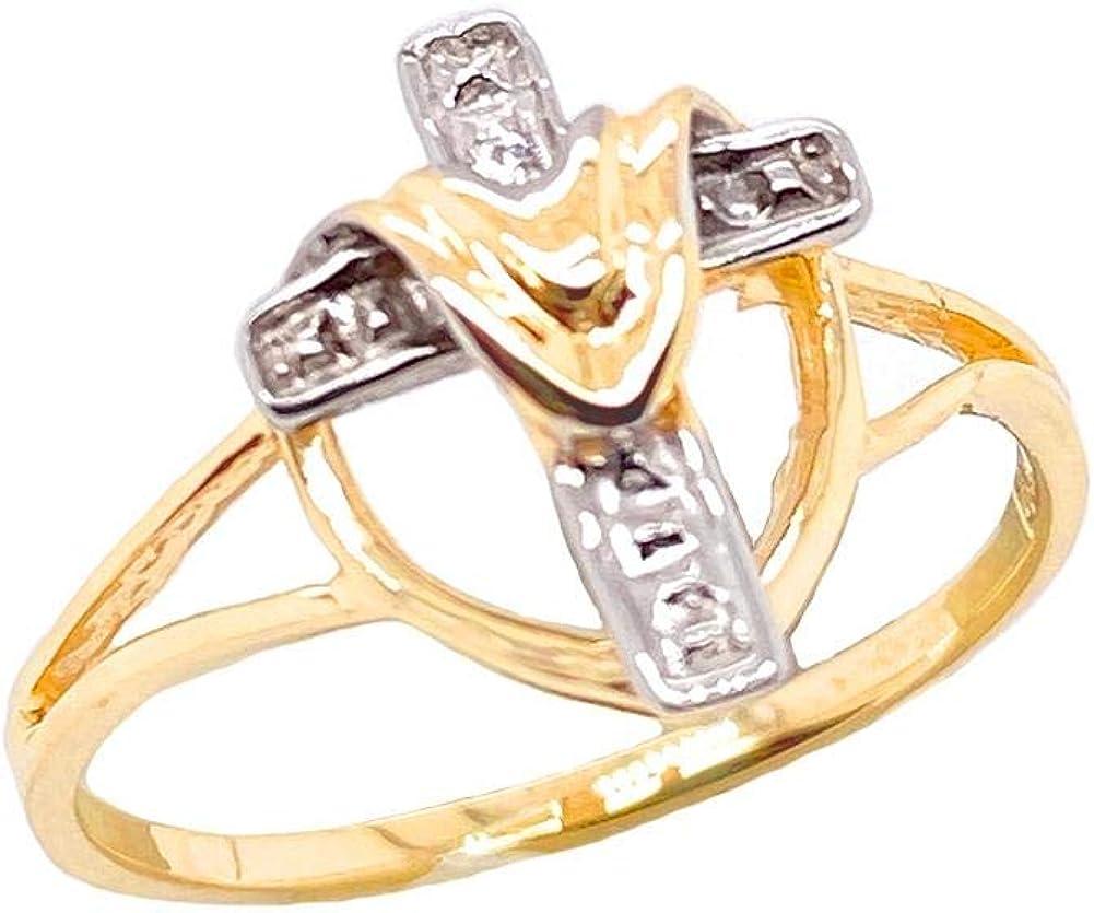 Fine 10k Gold Diamond Cloaked Cross Statement Ring