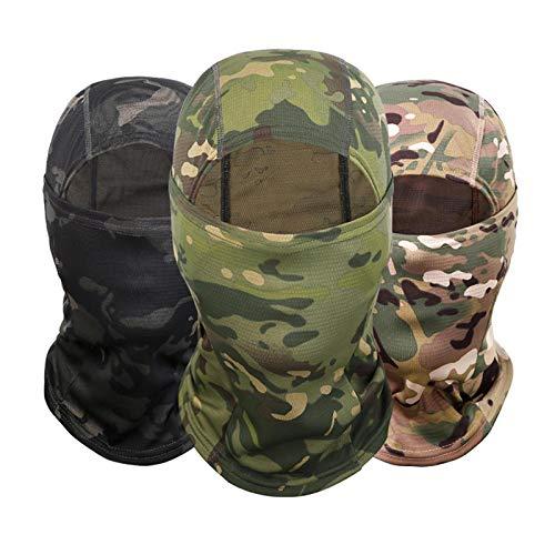 OTOTEC 3 x Camouflage-Sturmhaube, Helmfutter, Vollgesichtsmaske, Nackenschutz, Schild, Outdoor, Sport, Motorrad, Ski, Snowboard, Radfahren, Angeln, Wandern