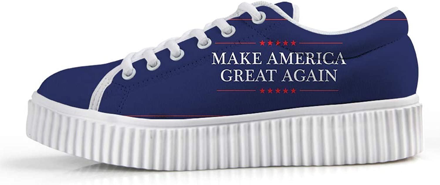 Owaheson Platform Lace up Sneaker Casual Chunky Walking shoes Low Top Women Make America Great Again President Slogan