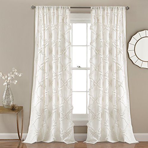 Lush Decor Ivory Ruffle Diamond Curtains
