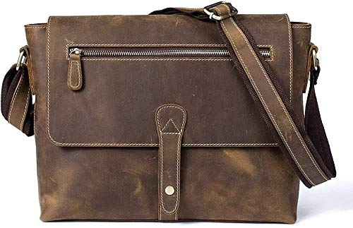 MINGTIANHUIGENGHAO Handmade Vintage Leather Messenger Bag, for Women Mens Briefcase Laptop Best Computer Satchel Bags Tote Handbags Satchel Messenger