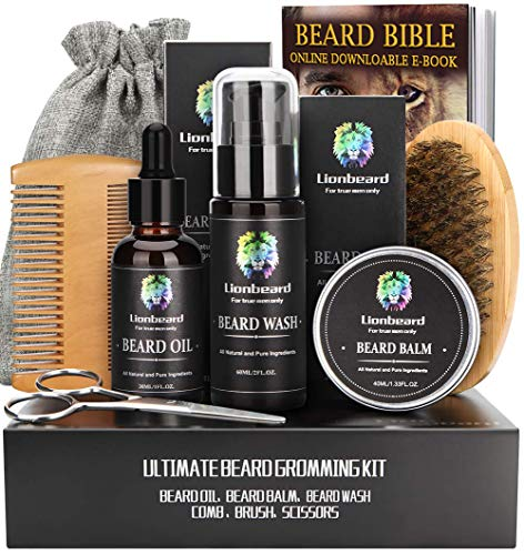 Beard Care Kit for Men Beard Growth Grooming & Trimming, Beard Shampoo Wash, Beard Oil Conditioner,...