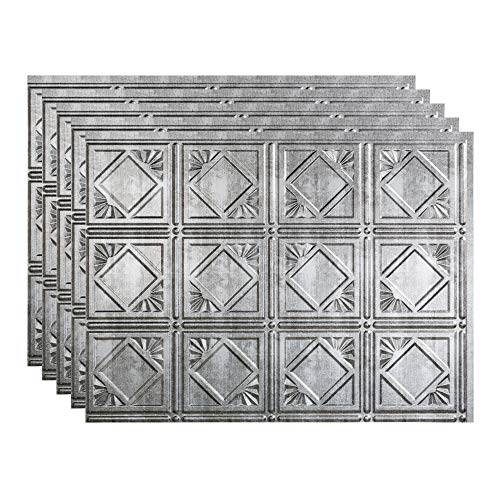 FASÄDE Traditional Style/Pattern 4 Decorative Vinyl 18in x 24in Backsplash Panel in Crosshatch Silver (5 Pack)