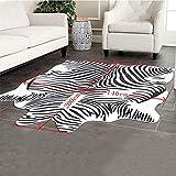 Teppiche Matten Teppiche Zebra Kuhfell Teppich Die gesamte Nordic American Tier schwarz und weiß Teppich Wohnzimmer Schlafzimmer Bett kleine kreisförmige dünne Bodenmatte ( Size : 200cm(78.7 inches) ) - 5