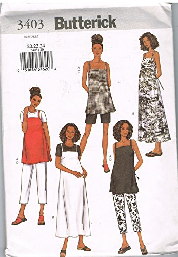 MISSES'/ BUTTERICK PATTERN 3403 MATERNITY TOP, DRESS, SHORTS & PANTS SIZE 20-24