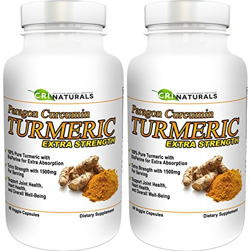 Paragon Curcumin Turmeric-1500mg Extra Strength- Anti-Inflammation - Supports Joint Health - Heart Health - Muscle Pain Relief - 90-Day Satisfaction Guarantee (2-Pack)