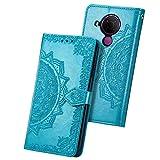 JIAFEI Funda para Nokia 5.4, Estampado Mandala Libro de Cuero Billetera Carcasa, PU Leather Flip Folio Case Compatible con Nokia 5.4, Azul