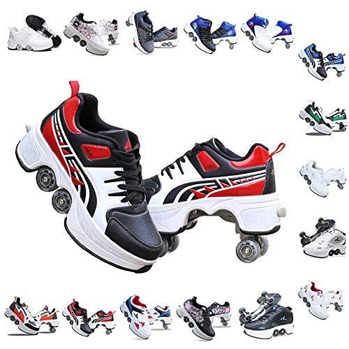 Bueuwe Verstellbare Quad-Rollschuh-Stiefel,Quad Skate Rollschuhe Skating Multifunktionale Deformation Schuhe 2-In-1-Mehrzweckschuhe, Für Kinder Geeignet, Anfänger,I,38 EU