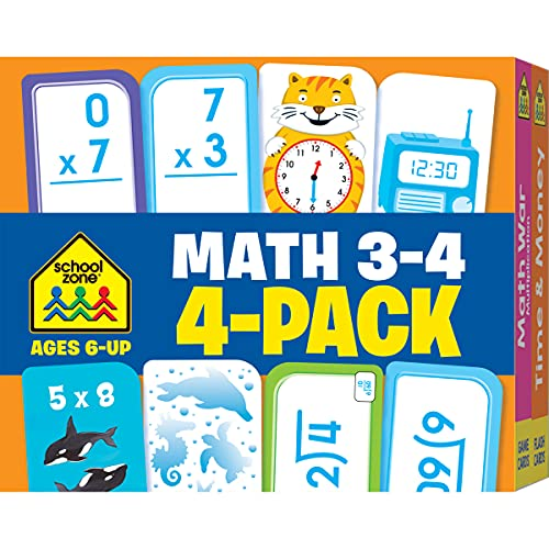 School Zone - Math 3-4 Flash Cards 4 Pack - Ages 6 and Up, 3rd Grade, 4th Grade, Multiplication, Division, Time and Money, and More (Flash Card 4-pk)