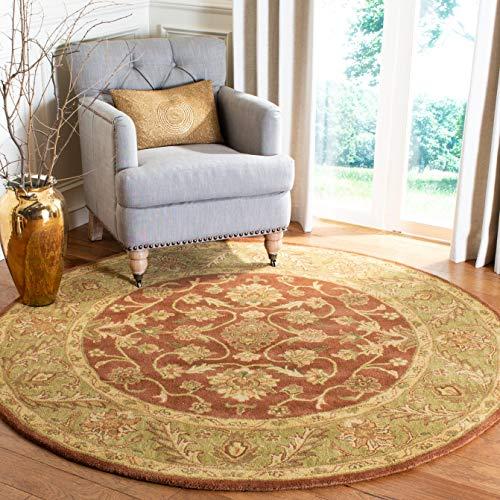 Safavieh Golden Jaipur Collection GJ250E Handmade Rust and Green Premium Wool Round Area Rug (4' Diameter)