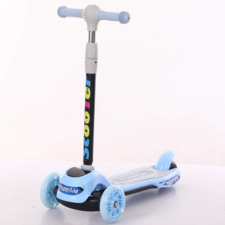 Tu satisfacción es nuestro objetivo CCDYLQ Scooters para para para Niños pequeños Plegables, 4 de Altura Ajustable 3 LED Light Up Ruedas Scooters para Niños Ruedas Intermitentes Scooter Plegable para Niños,azul  popular