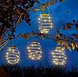 LED solar spiral laterne, durchmesser hängelaterne gartendekoration, wintergartendekoration terrassendekoration schwarz warmweiß 4pcs
