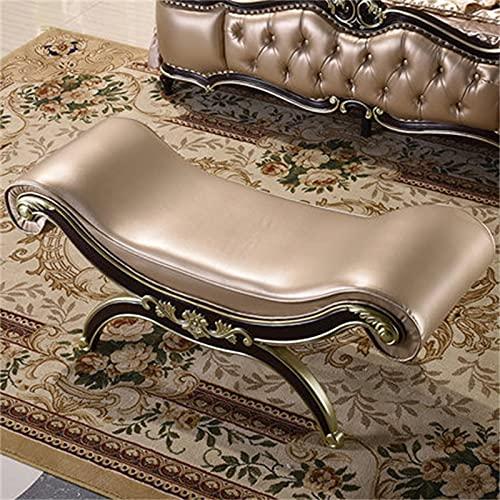 Vobajf Taburete De Cabecera Cama de Estilo Europeo Taburete French Leather Art Bed Bed Side Taburete Neo-Clásico Tallado Oro Zapato Cambio de Zapatos (Color : Gold, Size : 137x50x58cm)