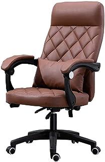 Silla de oficina de silla con espalda alta gran asiento e inclinación Función de látex Oficina de látex Ejecutivo Silla giratoria PU Capacidad de cojinete 150kg Sillas de escritorio (Color: Marrón) ZD