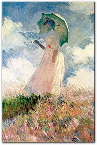 Leinwand Malerei Claude Monet Frau mit einem Sonnenschirm Wandkunst Leinwandbilder Reproduktionen Impressionist Berühmte Leinwand Wandkunst Bild für Wohnzimmer Home Decoration (Kein Rahmen,50x70cm)