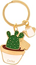 Cute Potted Plants Cactus Shape Keychain Hang Bag Accessories Key Ring (White)