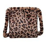 Women Plush Faux Fur Clutch Handbag Leopard Print Tote Shoulder Bag, Leopard Print Bag Fluffy, Fluffy Shoulder Bag, Fashion Leopard Print Crossbody Bag (Coffee)