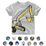 Unisex Baby T-Shirt Baumwolle Süß Karikatur Tier Muster Tops für 1-7 Jahre Alt (4-5 Jahre, Grau Bagger)