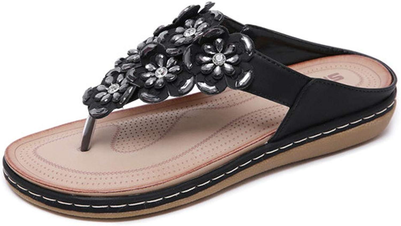 Bohemian Bling Flowers Crystal Rhinestone Jewelled Casual Slip on Slide Flat Dressy Flip Flop Beach Sandals for Women Girls