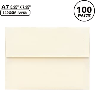 A7 Off-White Invitation 5x7 Envelopes - Self Seal, Square Flap,Perfect for 5x7 Cards, Weddings, Birthday, Invitations, Graduation, Baby Shower, 5.25 x 7.25 Inches, 100 Pack, (Off-White)