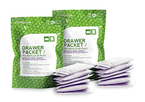 Ever Bamboo Drawer Packet w/Natural Bamboo Charcoal (8 x 10 g Refills, 2 Pack)