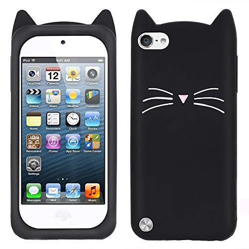 Megantree Cute iPod Touch 6 case iPod Touch 5 case Funny 3D Cartoon Animal Black Whisker Cat Ears Kitty Case Soft Silicone Shockproof Slim Fit Back Cover Cases for iPod Touch 6th / 5th Generation