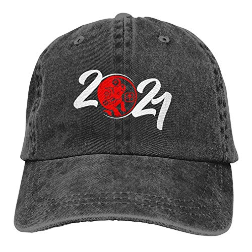 Baseball Cap Happy New Year 2021 Year of The Ox Outdoor Tracking Sports Adjustable Cap Black