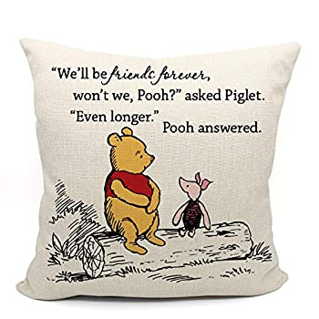 Winnie the Pooh and Piglet Pillow Case Friendship Gifts Decorative Pillow Covers Winnie the Pooh Theme Room Student Gift Back to School Gift 18 x 18 Inch Linen Cushion Cover for Sofa Couch Bed
