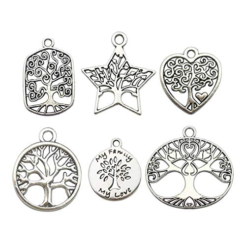 60pcs Craft Supplies Antique Silver Tree of Life Charms Pendants for Crafting, Jewelry Findings Making Accessory for DIY Necklace Bracelet (M147)