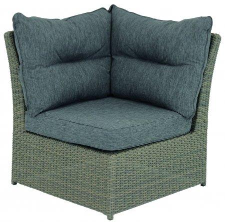 Eenvoudige meubels tuinbank Fredo hoekelement groot polyrotan grijs
