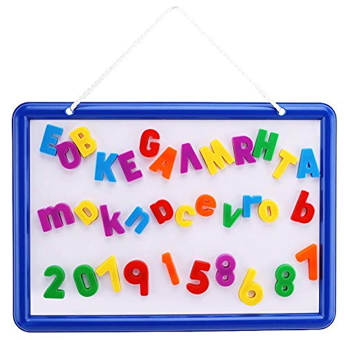 Kid's Dry Erase Board and Magnet Set – 109 Piece Magnetic Letters, Numbers, and Symbols for Fun Educational Learning – Hanging Whiteboard for Home, Preschool, Kindergarten – by EduKids