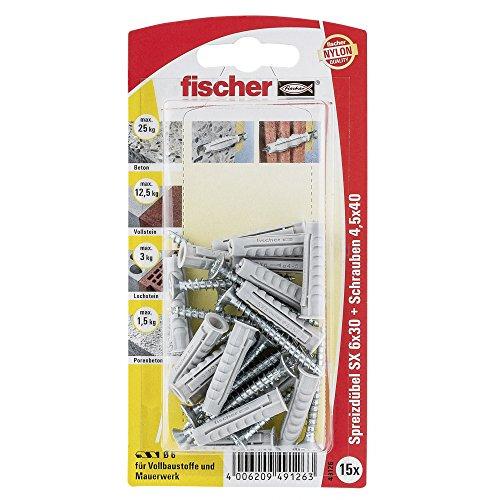 Fischer Spreizdübel SX 6 x 30 SK SB-Karte, 15 x Spanplattenschraube 4,5 x 40, 049126