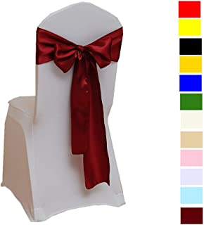 Fvstar 10pcs Chair Ribbons Bows Satin Wedding Chair Bows Elegant Party Chair Ribbons Decorative Chairs Cover Sashes Tie Bands for Birthday Events Supplies Baby Shower Banquet Decorations,Burgundy