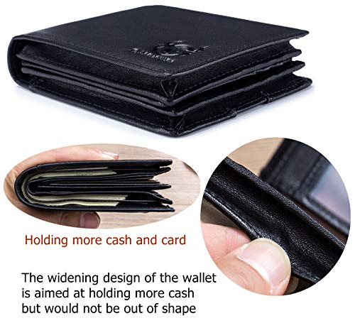 BULLCAPTAIN Men Wallet Genuine Leather Large Capacity Bifold RFID Blocking Wallet with ID Window 15 Card Slots 2