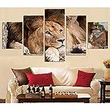 JIAORLEI HD Pintura 5 Modernos decoración para León tirado en el Suelo Imagen gráfica Decoracion Cuadros para dormitorios