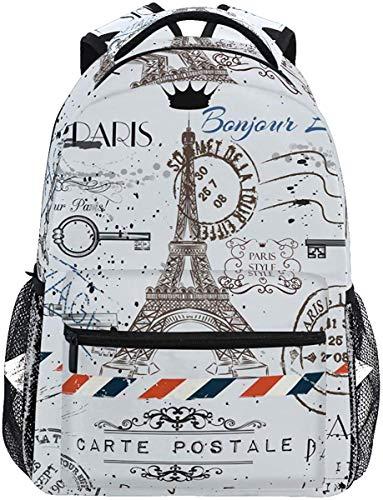 Frankreich Paris Eiffelturm Post Briefmarken Rucksack Bookbags Daypack Travel School College Bag für Frauen Männer Teens