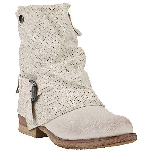 Gefütterte Damen Biker Boots Glitzer Stiefeletten Nieten Schuhe 150192 Creme Prints Nieten 36 Flandell