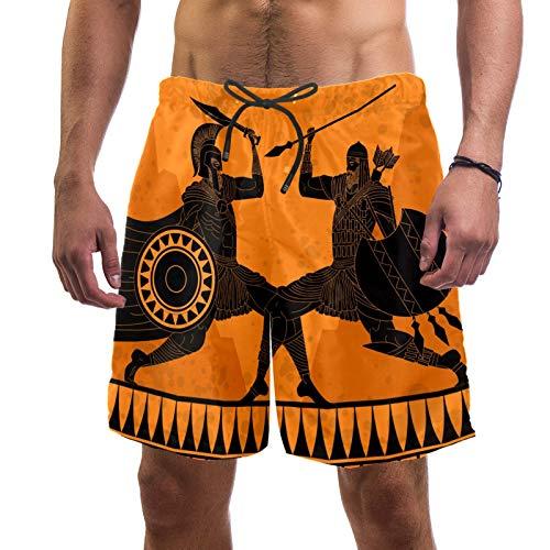 Battle of Spartan and Persian - Traje de baño de secado rápido para hombre con bolsillo