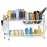 Dish Drying Rack, iSPECLE Expandable 2 Tier Extra Large Dish Rack for Pot and Pan Stainless Steel...