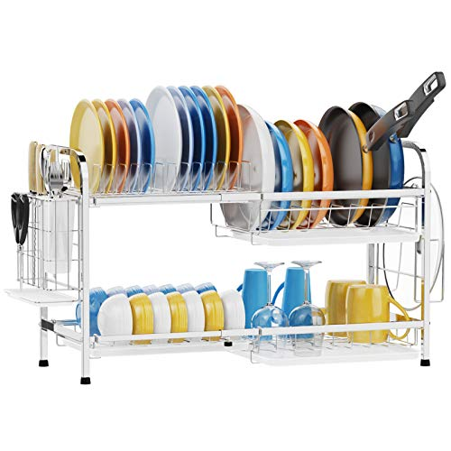 Dish Drying Rack iSPECLE Expandable 2 Tier Extra Large Dish Rack for Pot and Pan Stainless Steel Pan Rack with Pot Holder Drain Board Utensil Holder for Kitchen Countertop Silver