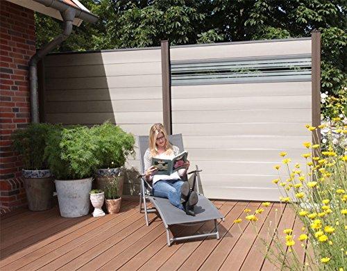 terrasso WPC/BPC Sichtschutzzaun bi Color-weiß 12 Zäune inkl. 13 Pfosten in Dark Grey und Verglasung Sichtschutz Gartenzaun Zaun